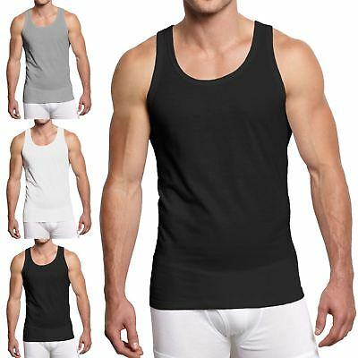 New Mens Pack of 3 WHITE Vests TANK TOP SUMMER MUSCLE Slim Fit Cheapest ~3