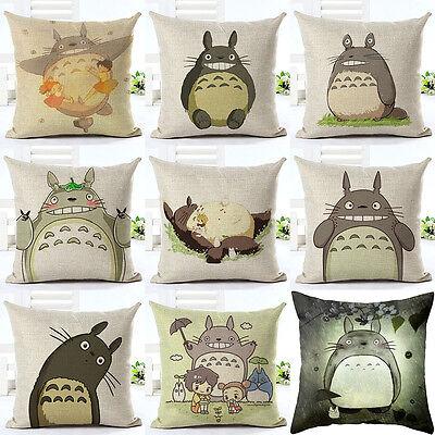 Home Decor Pillow Cases My Neighbor Totoro Cotton Linen Sofa Car Cushion Covers