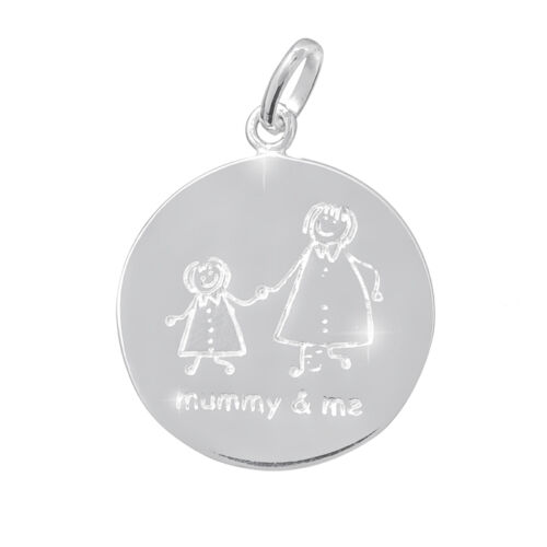 """B91//8 Etched /""""Mummy /& Me/"""" Disc Charm 925 Sterling Silver 20x23mm"""