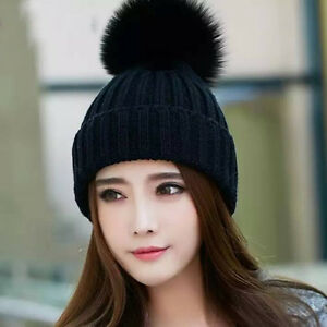 a3e9dfce215 100% Real Fox Fur pompom Beanie winter hat and wool Blend Hat fur ...