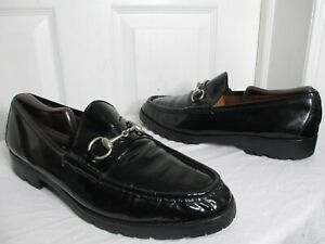 573459393 GUCCI MEN'S HORSEBIT BLACK PATENT LEATHER LUG SOLE LOAFERS SIZE 11 D ...