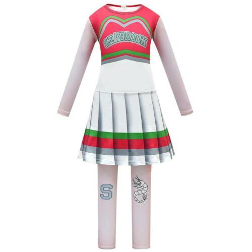 Disney Zombies 2 Cosplay Halloween Baby Girls Cheerleader Fancy Dress Costume S