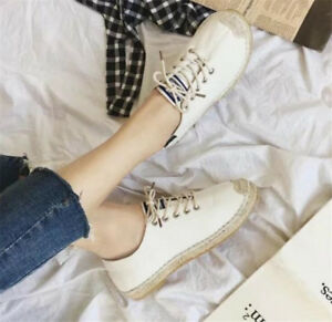 Fashion-Women-039-s-Breathable-Loafers-lace-up-Round-Toe-Sneakers-Flats-Casual-Shoes