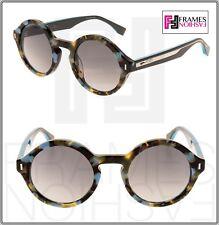 c660b4bdeb8b FENDI COLOR BLOCK FF0153S Blue Havana Teal Round Sunglasses 0153 Women
