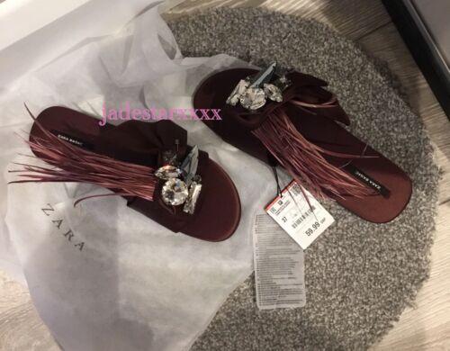 Slides Embellished Jewel en Shoes satin Sandales Flats 4 Burgundy Zara 37 New xPvO1x5
