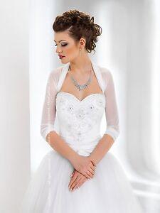 NEW-Women-Bridal-Ivory-White-Tulle-Bolero-Shrug-Wedding-Jacket-Shawl-Size-S-XXL