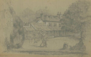 1868 Graphite Drawing - Garden Landscape with Figure