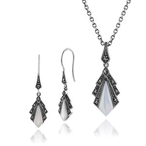 Fine Jewelry Objective Plata De Ley Nácar Y Marcasita Pendientes & 45cm Necklace Set Refreshment