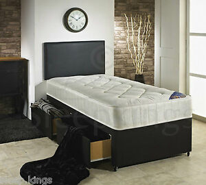 3ft single divan bed black with quilted mattress storage for Cheap single divan with drawers