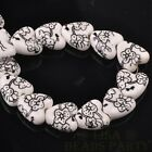 10pcs 14mm Heart Geramic Loose Spacer Beads Jewerly Making Black Plum Blossom