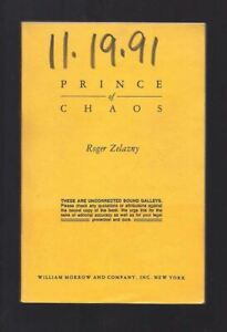 Roger Zelazny / PRINCE OF CHAOS Uncorrected Proof 1st 1991