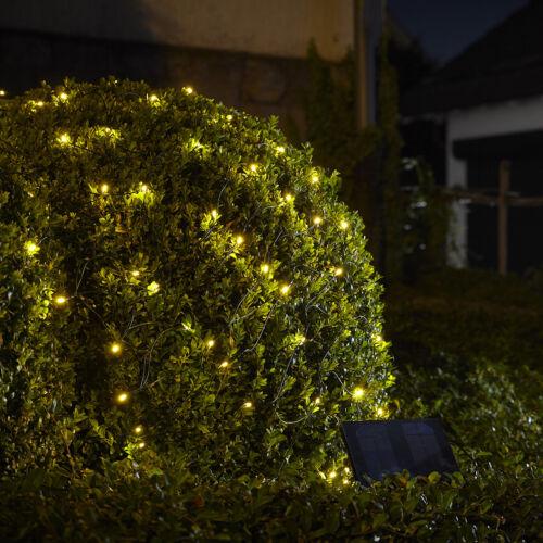 200er LED Solar Licht Außenlichterkette LEDs Netz 1,5x2,4 M Warmweiß XM64 B-Ware