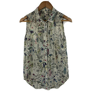 H-amp-M-Womens-Blouse-Size-US-4-AU-8-Floral-Multicoloured-Sleeveless-Top