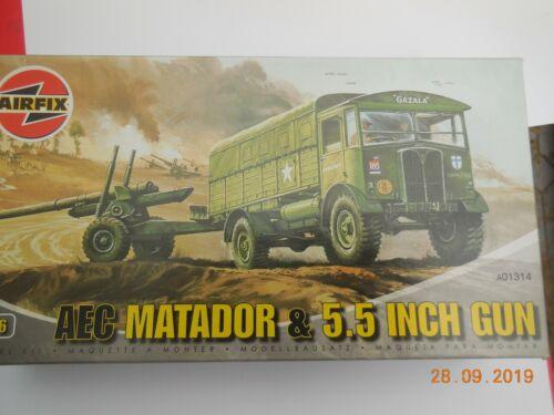 AIRFIX 1:76 SCALE AEC MATADOR AND 5.5 INCH GUN A01314 NEW COMPLETE
