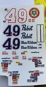 1981 #49 Harry Dinwiddie Pabst Blue Ribbon 1//24 Water slide clear decals