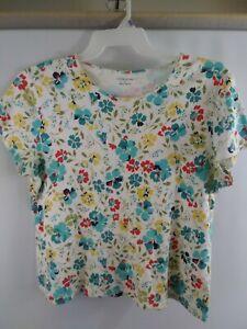 Women-039-s-Croft-amp-Barrow-White-Floral-Short-Sleeve-Classic-Tee-T-Shirt-Size-L