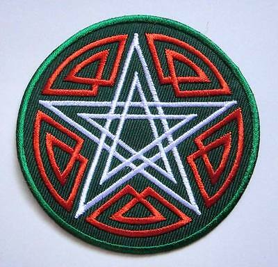 Double Pentagram Star Magic Circle Round Embroidered Iron on Patch Free Postage
