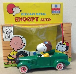 Details About Snoopy Peanuts Auto Garage Esci Italy Diecast Racer Car In Package Vintage 1983