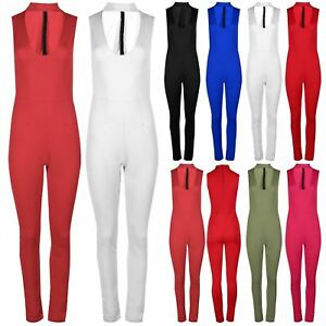 bce342d1652c Womens Scuba Back Zip Ladies High Polo Turtle Neck Plunge Jumpsuit ...