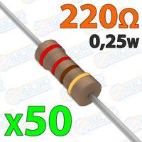 50x Resistencias 220 OHM 5% 1/4w 0,25w carbon film pelicula