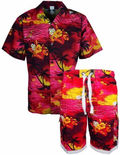 Hommes Hawaïen Plage Floral Printed Top /& Bottom Set Complet fantaisie Natation Court
