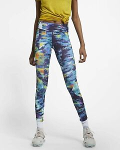 Women-039-s-Nike-Epic-Lux-Printed-Running-Tights-UK-XS-Empty-Blue-CI0291-492