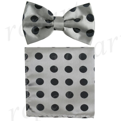 Men/'s polyester Pre-tied Bow Tie /& Hankie set Silver black polka dots formal