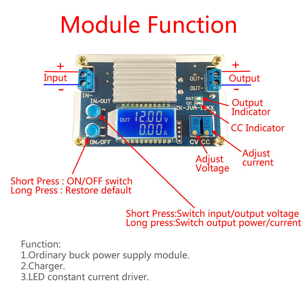Details about 12A LCD Display Adjustable Step Down Power Supply Module CVCC  Converter DC-DC