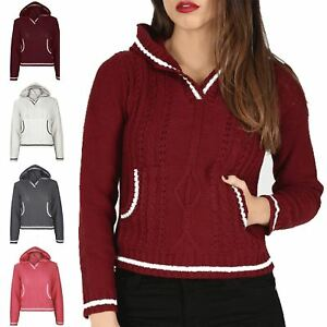 9f3b088d7c Details about Womens Cricket Jumper Ladies Cropped Top Hood Hooded Stripes  Long Sleeve Knitted