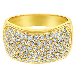 18k-Gold-Plated-Wide-Band-Micro-Pave-Clear-Crystal-Women-039-s-Fashion-Rings