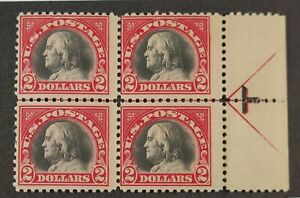 US-547-VF-XF-2-Red-amp-Black-Franklin-Plate-Block-of-4