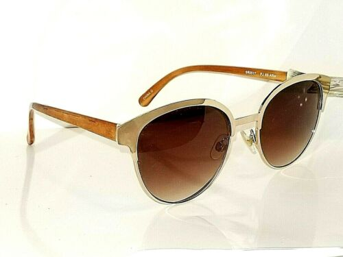 Panama Jack Bright Silver Metal Round Deco Sunglasses with Wood Grain Stems