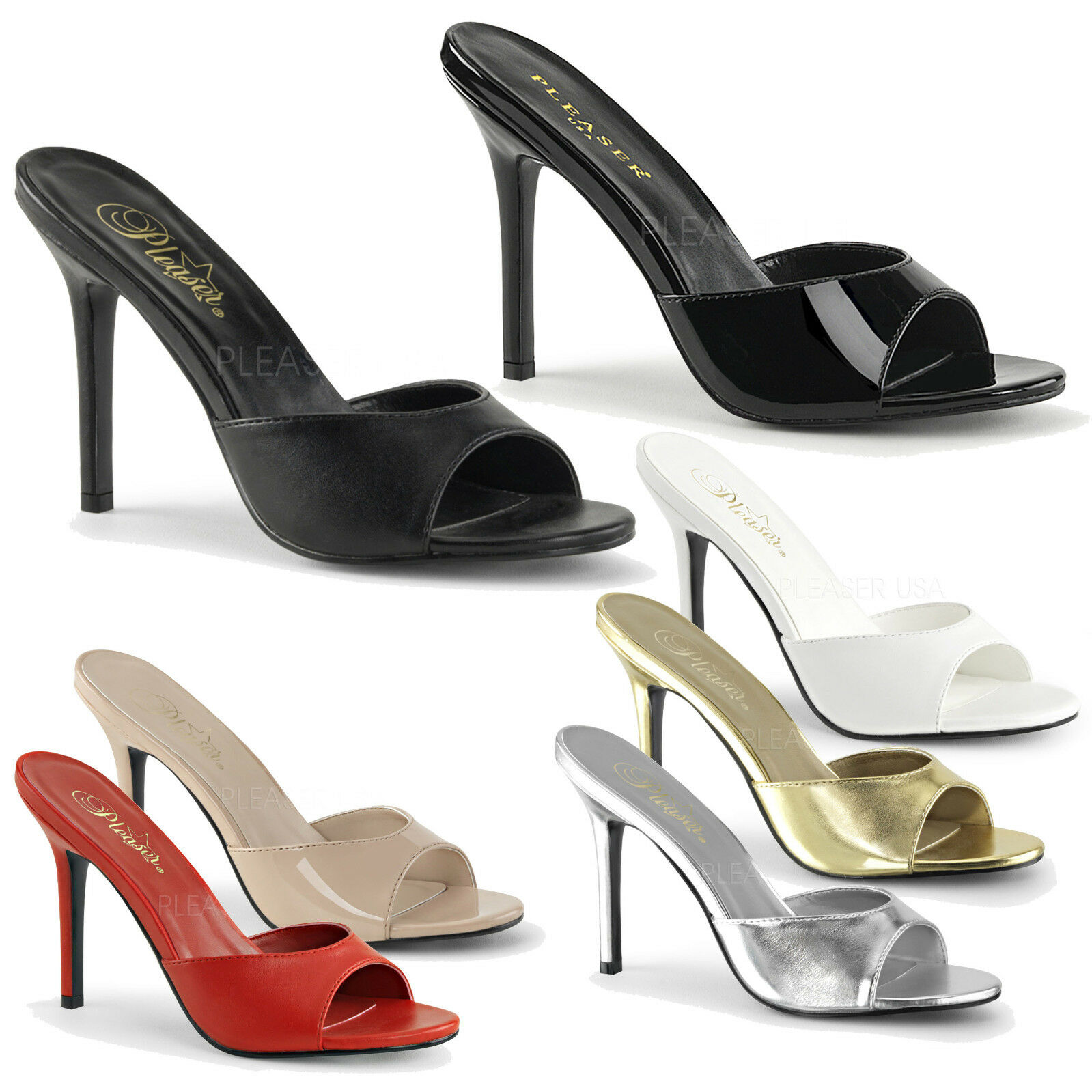 PLEASER - Classique-01 Heel Peep Toe Slide Schuhe Sandale