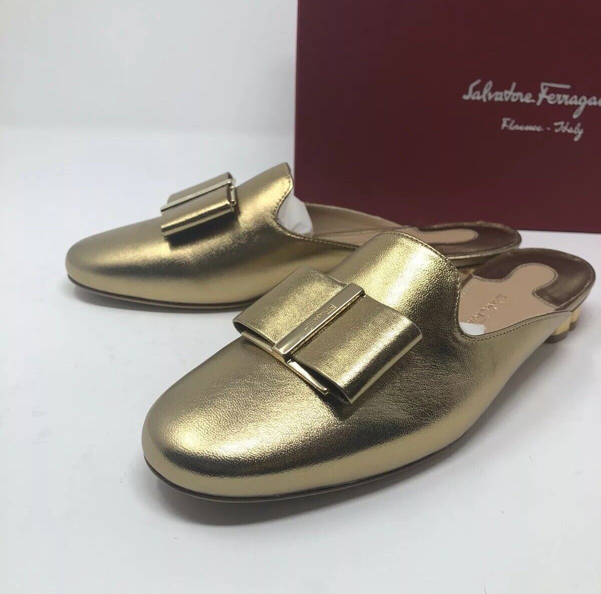 550 New Salvatore Ferragamo Womens Sciacca gold Slippers Ladies shoes Size 6 C