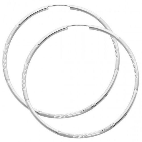 60MM 14K Solid White Gold 2mm Diamond Cut Endless Hoop Earrings