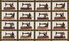 Panel de tela de la máquina de Coser Singer Antigua Robert Kaufman Metálico
