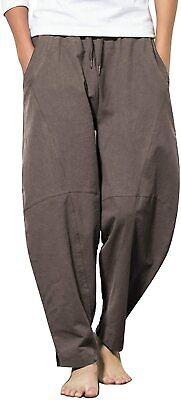 COOFANDY Mens Linen Loose Casual Lightweight Elastic Waist Yoga Beach Pants XXL, 1- Navy Blue