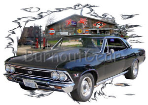 Details about 1966 Black Chevy Chevelle SS a Custom Hot Rod Garage T-Shirt  66 Muscle Car Tees
