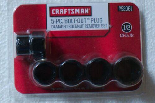 NEW Craftsman 5-PC BOLT-OUT PLUS Damaged Nut// Bolt Remover Socket Set