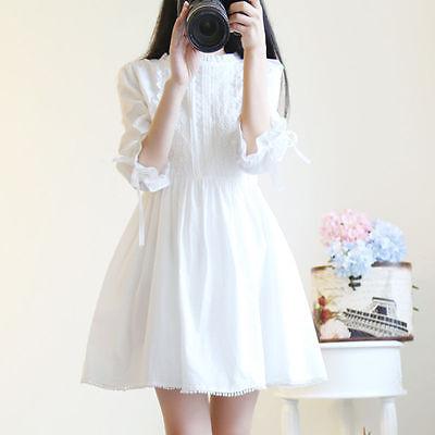 Kawaii Princess Japanese Sweet Lolita Mori Girl Lace White Dress Silm Fashion#37