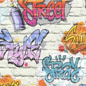 Carta Da Parati Murales.Dutch Wallcoverings Carta Da Parati Graffiti Multicolore Foglio Adesivo Murale Ebay