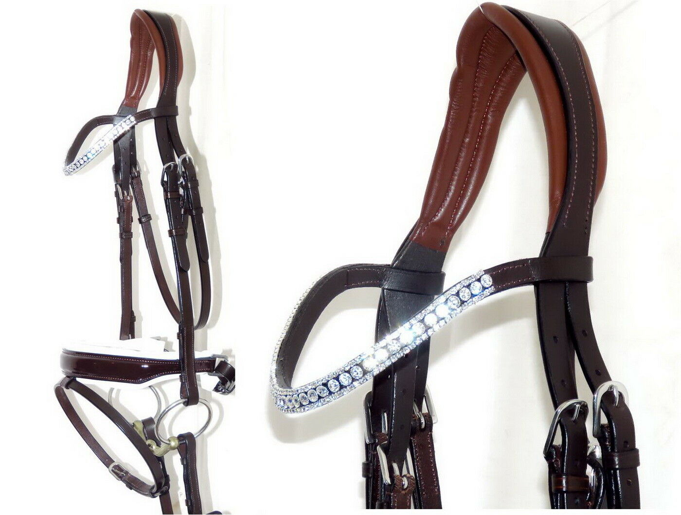 FSS RADIENT CLEAR Crystal FREEWAY CUT-AWAY WHITE Comfort MonoCrown PATENT Bridle