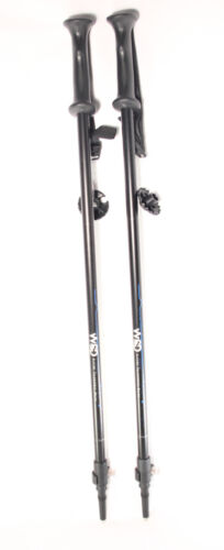 Ski poles Telescopic adjustable Collapsible Adult dowhill WSD black//blu 2018 New