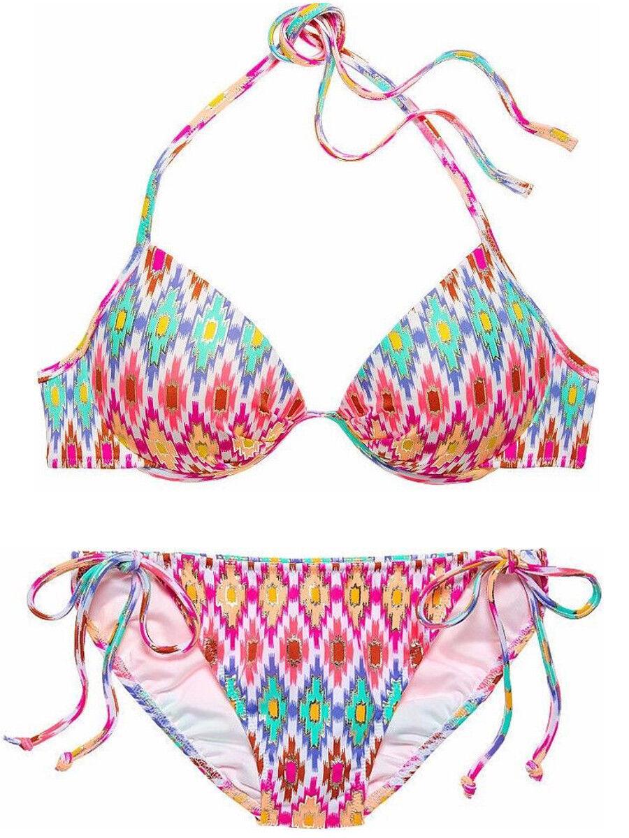 beb9222c0e30b Victoria Secret Fabulous Top White Ground Ikat tie bikini Sz Small NWT 34D  Foil okacat6624-Swimwear