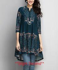 #E *Slight Seconds* Ladies Designer Size UK 8 Emerald Green Border Hi-Low Tunic