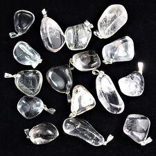Premium Bergkristall Trommelstein Anhänger mit silberner Öse Edelstein I