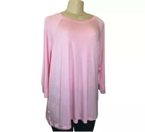 Honeydew-Knit-Top-Size-XL-Womens-Pink-Stretch-3-4-Sleeve-Tee-Lounge