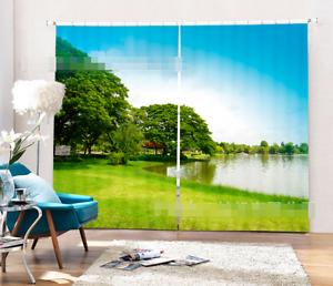 3D río de césped 35 Cortinas de impresión de cortina de foto Blockout Tela Cortinas Ventana Reino Unido