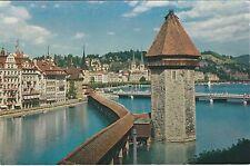 Switzerland - Lucerne/Luzern, Kapellbrucke mit Wasserturm - Vintage Postcard
