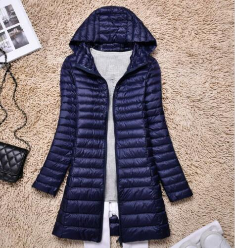 Womens Ultralight Long 90/% Down Jacket Puffer Coat Hooded Parka Slim Fit Winter